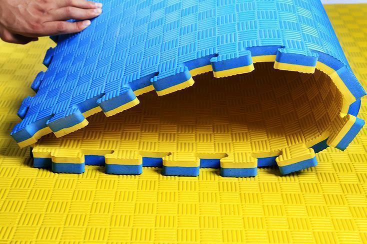blue yellow eva mat